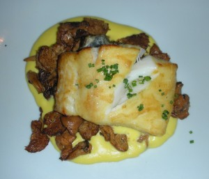 miso-glazed black cod with chanterelles and creamed corn