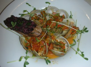 Manila clams with saffron broth and chorizo