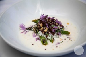 asparagus with chive blossom