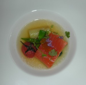 Duncan Ly's amazing trout and trout-bone hot-sour consomme