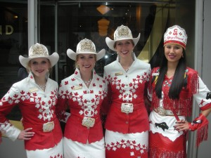 Rodeo Royalty! The Calgary Stampede queen and princesses welcomed us to Richmond Station