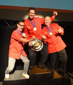 On the podium! Left to right: Chef Norm Pastorin won silver, Chef Luc Jean won gold, Chef Edward Lam won bronze