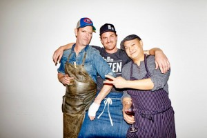 Chefs Anthony Walsh, Chris Brown and Nick Liu at the Chefs for Change event