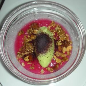 Avocado ice cream and rhubarb compote